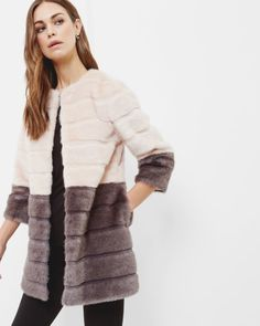 Colour block faux fur coat - Straw | Jackets & Coats | Other Europe Site