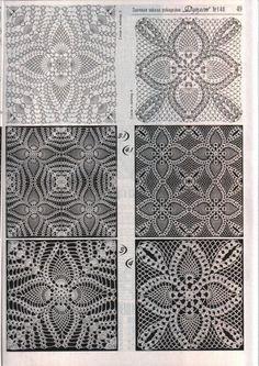 Crocheted motif no. Filet Crochet, Crochet Diagram, Crochet Chart, Thread Crochet, Crochet Bedspread, Crochet Tablecloth, Crochet Doilies, Crochet Flowers, Crochet Motif Patterns