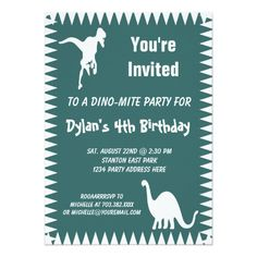 Cool T Rex Dinosaur Birthday Party Invitations