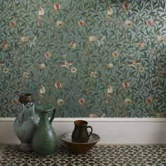 Bird And Pomegranate Wallpaper from William Morris Archive Wallpapers 2 Collection. A reflective wallpaper featuring golden birds nestling in fruit bearing pomegranate trees. William Morris Tapet, William Morris Wallpaper, Morris Wallpapers, Wallpapers Ipad, Floral Wallpapers, Teal Wallpaper, Print Wallpaper, Home Wallpaper, Pattern Wallpaper