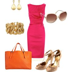 I don't normally like pink, but love this dress....not sure I'd put that bag with it, but...I like the rest of it
