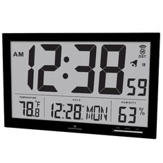 Marathon Watch Company Slim Jumbo Atomic Wall Clock Color: Black