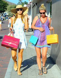 Paris and Nicky Hilton went shopping in Malibu, CA, on Saturday.