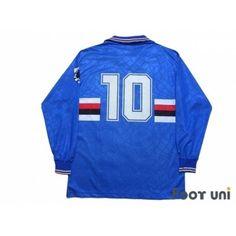 Sampdoria Home Long Sleeve Shirt - Football Shirts,Soccer Jerseys,Vintage Classic Retro - Online Store From Footuni Japan Soccer Jerseys, Soccer Shirts, Football Soccer, Retro Football Shirts, Asics, Retro Vintage, Long Sleeve Shirts, Japan, Store