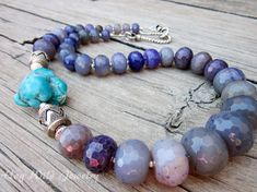 Chunky Turquoise Necklace Purple Semi Precious by hogwildjewelry