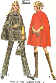 Vintage 60s McCalls 2118 Misses Cape-Poncho and Pants Sewing
