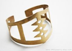 SPINE Brass Cuff Bracelet via Etsy