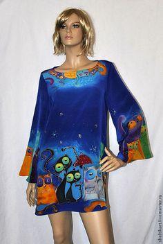 """Купить Платье-туника """"КотоФАНия"""" - тёмно-синий, батик платье, шелковое платье, платье с росписью"""