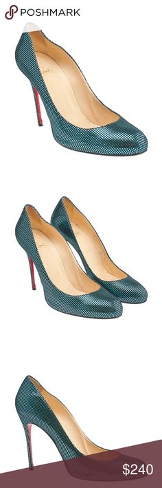 Christian Louboutin Declic Blue Fabric Pumps •Designer: Christian Louboutin •Overall Condition: Pre-owned •Exterior Condition: Gently Used •Interior Condition: Gently Used •Type: Pumps •Material: Fabric •Origin: Italy •Color: Blue •Size System: US •Weight: 1 lbs •Size: 11.5 •Heel Height: High (3 in up) •Insole: 10.5 •Sole Width: 3 •Production Code: N/A •Overall Condition Description:  These Christian Louboutin Declic heels feature: Exterior: bottom soles show wear, worn heel lifts, uppers…