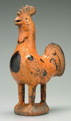 Redware rooster ~ sold for $1300.