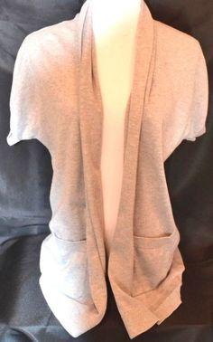 MICHAEL MICHAEL KORS Light Gray Open Front Short Sleeve Cardigan Sweater Sz L #MichaelMichaelKors #Cardigan