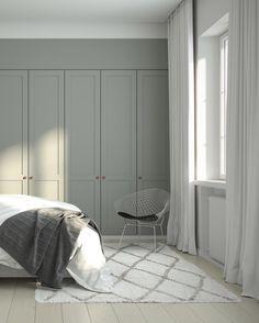 Helsingö wardrobe designs by scandi designers and traditional craftsmanship. Built on IKEA cabinets because taste isn't equal to high price. Scandi Bedroom, Home Bedroom, Interior Design Living Room, Bedroom Decor, Bedrooms, Wall Decor, Ikea Wardrobe, Bedroom Wardrobe, Built In Wardrobe