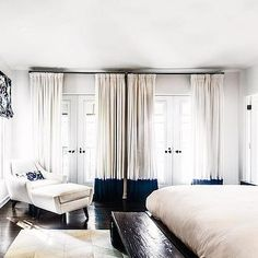 Navy Banded Curtains, Contemporary, Bedroom, SVZ Interior Design