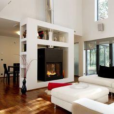 Stuv double sided in beautiful bespoke fireplace