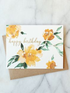Best Pic Birthday Flowers card Tips If you want a thoughtful and fun birthday su. Best Pic Birthday Flowers card Tips If you want a thoughtful and fun birthday su. Watercolor Birthday Cards, Birthday Card Drawing, Flower Birthday Cards, Birthday Cards For Mum, Watercolor Cards, Diy Birthday, Flower Cards, Watercolor Flowers, Watercolour