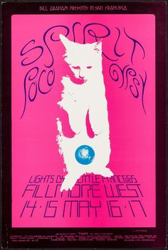 "Spirit at Fillmore West (Bill Graham, 1970). Concert Poster #233 (14"" X 21""). Rock and Roll. Offered is a concert poster from promoter Bill Graham featuring Spirit, Poco, Gypsy, and Lights by Little Princess #109 at the Fillmore West. The poster was designed by David Singer, who produced more concert posters for Bill Graham during his time at the Fillmore."