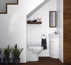 Solutions For Guest, Bathroom Under Stairs 15 Bathroom Under Stairs, Downstairs Bathroom, Bathroom Layout, Bathroom Interior Design, Small Bathroom, Under The Stairs Toilet, Modern Interior, Small Downstairs Toilet, Tile Layout