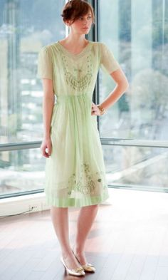 Late 20's embroidered day dress