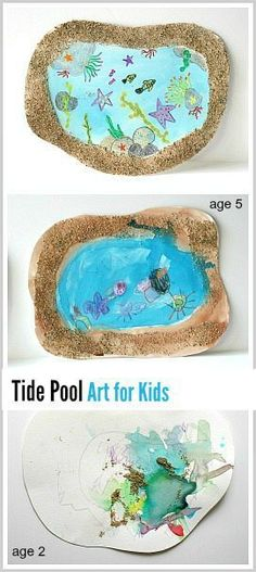 Tide Pool Art Project using real sand! (Perfect for an ocean or sea life unit and is adaptable for toddlers, preschoolers, kindergarteners, and up!) ~ http://BuggyandBuddy.com