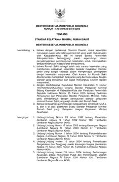 MENTERI KESEHATAN REPUBLIK INDONESIA                     NOMOR : 129/Menkes/SK/II/2008                                  TE...