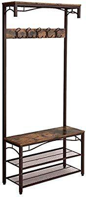 Amazon Com Songmics Vintage Coat Rack 3 In 1 Hall Tree Entryway Shoe Bench Coat Stand Storage S Metal Accent Furniture Accent Furniture Furniture