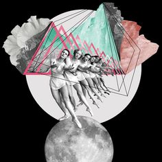 DREAMPAPER //TAGS: flower, girls, moon, retro, vintage, art, collage, girls, illustration, landscape, print, color, pastels, color, art, design, print
