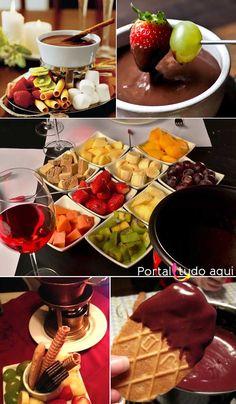 Chocolate Fondue - Warm-Up Delight - Dessert - Fondue Raclette, Fondue Party, Fondue Recipes, Brunch Buffet, Christmas Brunch, Romantic Dinners, Romantic Dinner Setting, Chocolate Desserts, Food Inspiration