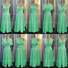 mint green bridesmaid dresses long 2020 chiffon cheap a line convertible infinite wedding party dresses 2021 Mint Green Bridesmaid Dresses, Cheap Bridesmaid Dresses, Bridal Dresses, Dama Dresses, Party Dresses, Formal Dresses, Prom Dresses Long With Sleeves, Chiffon Evening Dresses, Dress Long