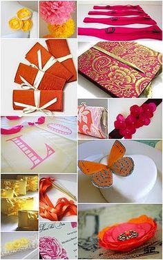 orange, red, wedding, yellow