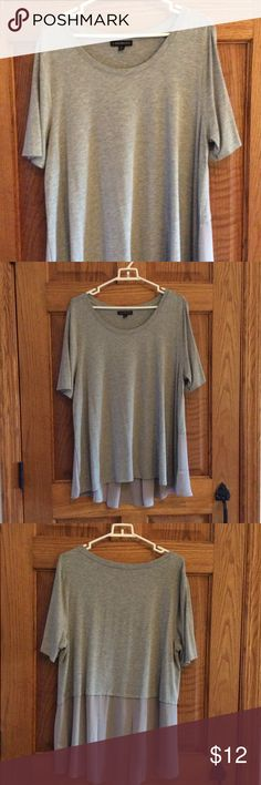 Grey t shirt Grey short sleeve t shirt  back has sheer panel with pleats at bottom. Worn one time. Lane Bryant Tops Tees - Short Sleeve