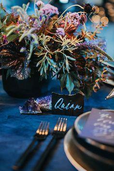"Moody blue wedding inspiration ""Over the Moon"" centerpiece - dark purple, blue and magenta Galaxy Wedding, Starry Night Wedding, Moon Wedding, Celestial Wedding, Dream Wedding, Jewel Tone Wedding, Purple Wedding, Wedding Colors, Pantone"