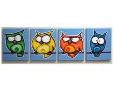 bELLy bUttON bIRDs - set of 4 8x10 original acrylic paintings on canvas, owl paintings for kids rooms or nursery. $100,00, via Etsy.
