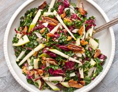 Kale, Apple and Pancetta Salad. Yumm!! Made this last night and it was great. Will definitely make again.  Cut the maple syrup in half, only used 1/4 cup light olive oil, used bacon instead of pancetta and 1/2 head of red cabbage instead of radicchio cuz that's all I had.  So, so good!!