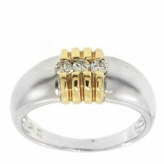0.25 Cttw G VS Round Brilliant Cut Diamonds Cocktail Ring in 14K Two Tone Gold by GetDiamondsDirect on Etsy