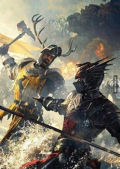 Robert Baratheon fighting Rhaegar Targaryen at the Trident