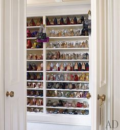 Architectural Digest - decks/patios - walk-in, shoe, closet, built in shoe shelves, Michael S. Lovely walk in closet housing Walk In Wardrobe, Walk In Closet, Shoe Closet, Closet Space, Shoe Room, Deep Closet, Master Closet, Closet Bedroom, Bathroom Closet