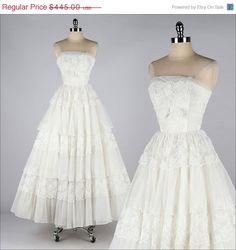 25 SALE vintage 1950s dress . white chiffon by millstreetvintage, $333.75