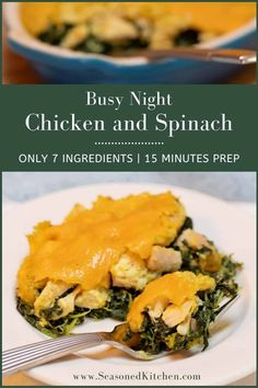 Busy Night Baked Chicken with Spinach is so easy to prepare with only 7 ingredients, it will quickly become one of your go-to recipes! 15 minutes of prep plus 45 minutes cook time, and dinner is on the table. #easypantryrecipes #quickandeasydinnerrecipes #easychickendishes #seasonedkitchen #weeknightdinners Chicken And Spinach Casserole, Spinach Stuffed Chicken, Cream Of Chicken Soup, Baked Chicken, Night Dinner Recipes, Dinner Ideas, Camping Recipes, Rv Camping, Spinach Recipes