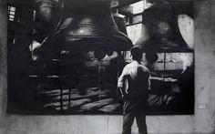 J. Ariadhitya Pramuhendra Looking for the bell, 2013 Charcoal on canvas, 250 x 400 cm / 98,25 x 157,48 inch.   #Art #Indonesia #Pramuhendra #charcoal #painting