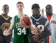 The Pierce, Chara, Ortiz & Wilfork Boston Jersey Swap Picture