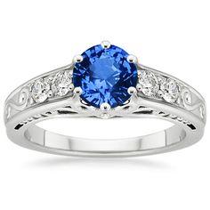 Sapphire Art Deco Filigree Diamond Ring in 18K White Gold, 6mm Round Blue Sapphire