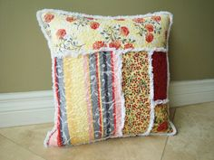 Decorative Quilted Throw Pillow Cottage Chic by rusticpatriotgirl, $28.00