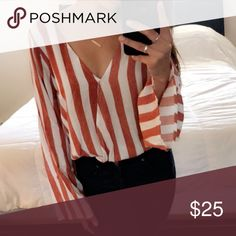 ONE LEFT! Get it now! NWT ♡  Rustic orange/red and white striped top. It's a little croppy and has bell sleeves. Perfect for day time or a night out. It is authentic Sadie & sage and runs true to size. Price firm. Sadie & Sage Tops Blouses