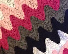 Hand Crocheted Wavy Chevron Afghan Throw