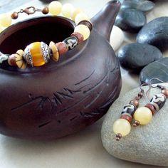 SWEET SPIRIT Bracelet with Honey Calcite with Tibetan Amber and Trade Beads-Jewelry Bracelet Beadwork. $45.00, via Etsy.