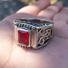 Vintage Genuine Radiant Ruby Sterling Ring Size by GlowingEmpire, $195.00