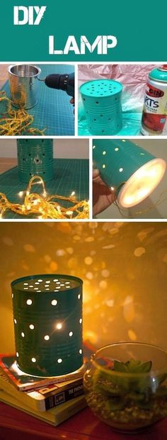 DIY Can Lamp. I think the bottom is covered with a yogurt lid? And filled with a small strand of some cheap Christmas lights? :) Two of these on either side of my headboard would rock!