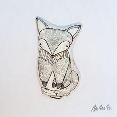 Ručně kreslený polštářek na přání Fler Mmmoje Fox Pillow, Big Pillows, Blanket, Mini, Handmade, Animals, Hand Made, Animales, Animaux
