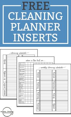 Free Cleaning Planner Inserts & Family Binder Inserts - 3 Different Styles Free Cleaning Planner Inserts and Family Binder Inserts. Three different style of cleaning trackers. Get organized with these helpful inserts. Weekly Cleaning, Deep Cleaning Tips, House Cleaning Tips, Spring Cleaning, Cleaning Hacks, Diy Hacks, Cleaning Lists, Cleaning Schedules, Speed Cleaning