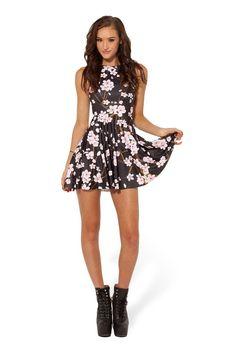 Cherry Blossom Black Reversible Skater Dress